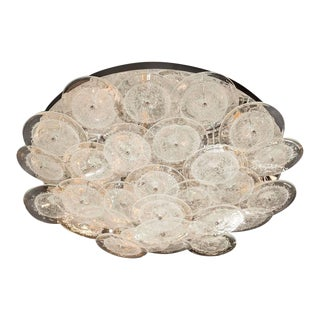 Flush Mount Murano Disc Chandelier in Clear Glass and Chrome Frame For Sale