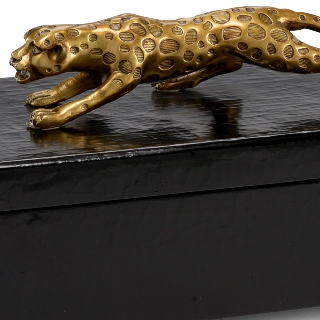 Black crackle finish. Antique gold details and wood. Cheetah box