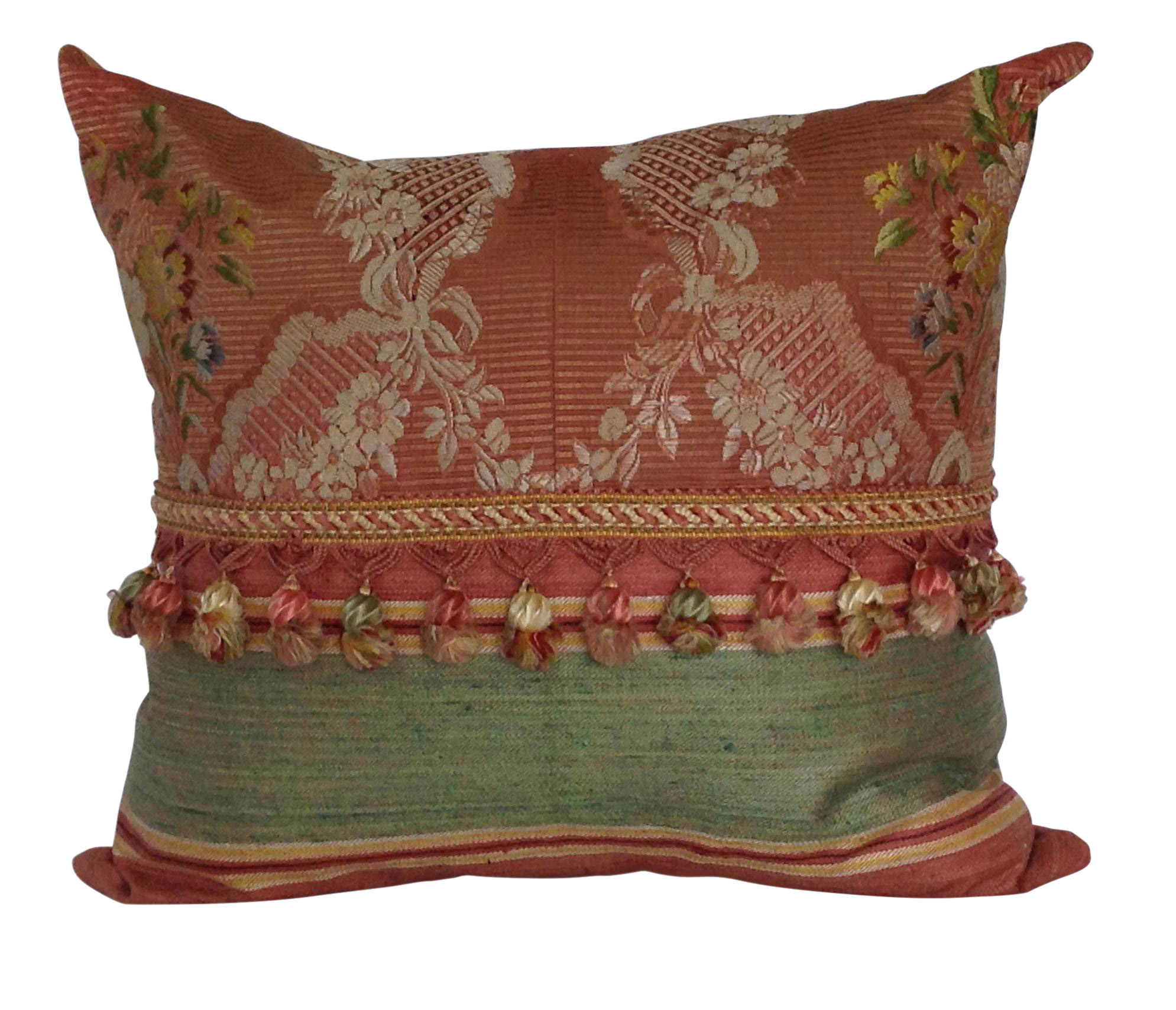 18th Century French Silk Textile Pillow With Tassels