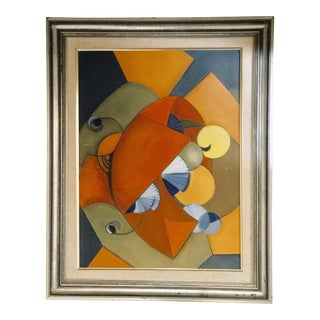 Late 20th Century Cubist Inspired Still Life Oil Painting For Sale