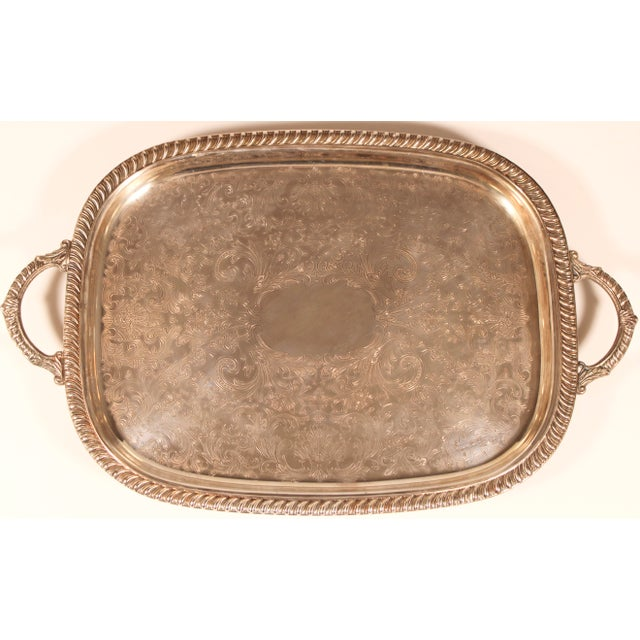 1980s English Silver Plate Footed Serving Tray With Handles For Sale - Image 11 of 11