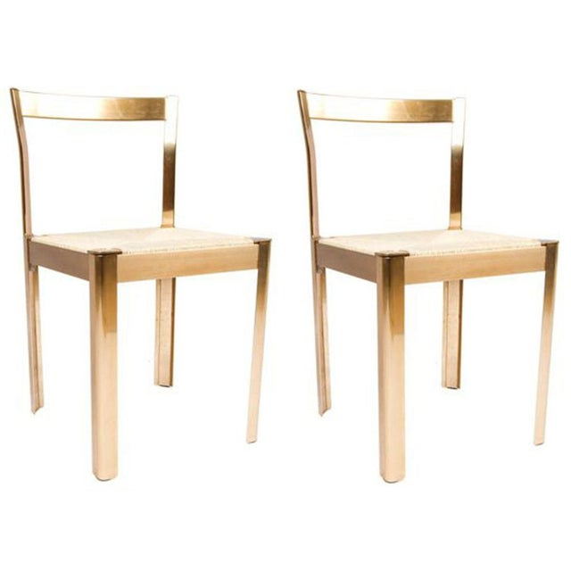 Italian Corded Brass Chairs- A Pair - Image 1 of 7