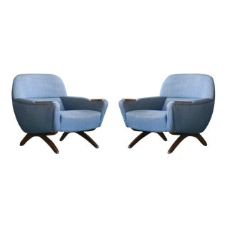 Two Danish Midcentury Leif Hansen Model Geisha Lounge Chairs With Rosewood For Sale