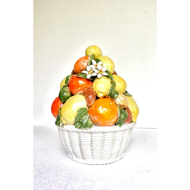 Vintage Majolica Lemon Orange Floral & Topiary For Sale In New York - Image 6 of 9