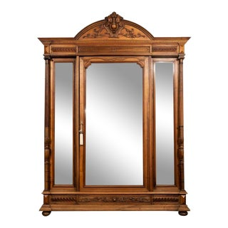 1800s Antique Renaissance Revival Mirrored Door Armoire For Sale