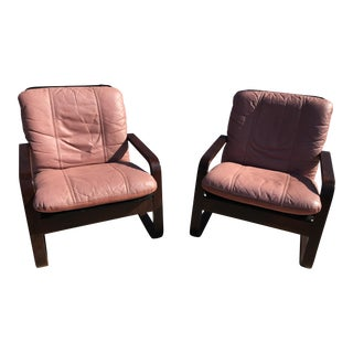 Blush Mid-Century Bentwood Leather Chairs - A Pair For Sale