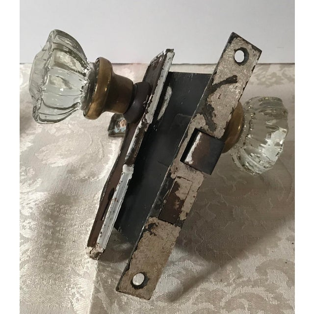 Glass Doorknobs With Hardware and Locks - a Pair For Sale - Image 9 of 10