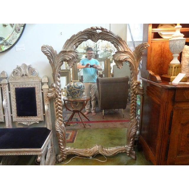 Vintage Serge Roche Inspired Carved Wood Silver Gilt Palm Frond Mirror For Sale - Image 9 of 12