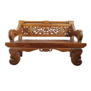 Teak Carved Bench For Sale