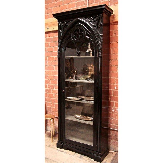 """Italian 19th Gothic Black Lacquered Cabinet to store all your treasures or VINO... (Cabinet Interior Depth: 13"""")"""