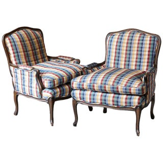 Pair of French Louis XV Style Bergères Upholstered in Madras Check Chintz Fabric