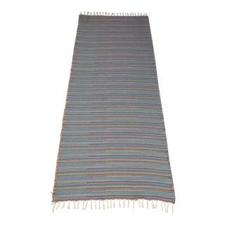 "Flat Weave Turkish Wool Striped Blue Kilim Rug - 2'8"" x 7'6"" For Sale"