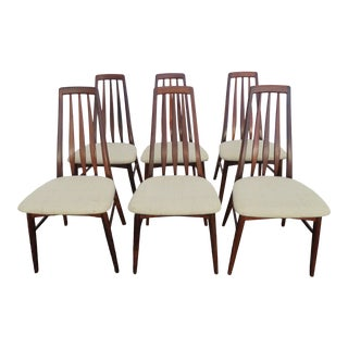 Koefoeds Hornslet Danish Modern Eva Rosewood Set of 6 Dining Chairs 1495 For Sale