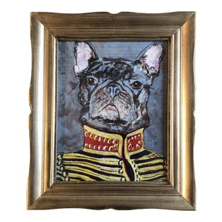 """Contemporary French Bulldog Print by Judy Henn """" Military Frenchie """" For Sale"""