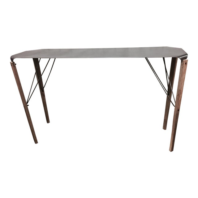 Industrial Hand-Crafted Steel & Fir Wood Console Table - Image 1 of 8
