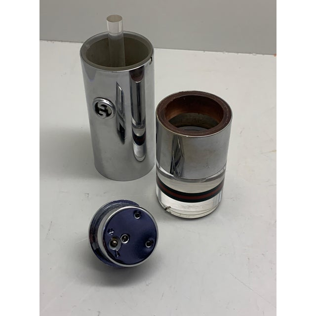 Metal 1970s Gucci Lucite and Chrome Table Lighter For Sale - Image 7 of 8