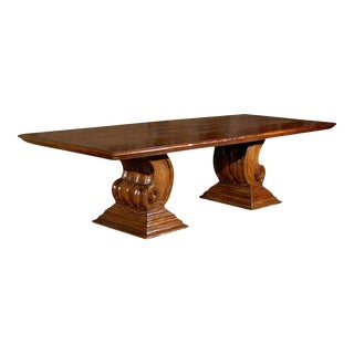 Mid 20th Century Hand-Carved Scroll Leg Base Dining or Conference Table For Sale