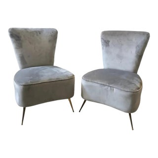 1950s Italian Mid-Century Modern Grey Velvet and Brass Armchairs - Set of 2 For Sale