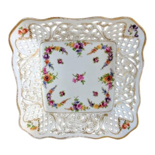 Vintage 1930's Schumann Reticulated Square Fine Porcelain Scallop Edge Plate For Sale