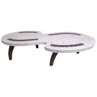 Stylish Mid-Century Modern Mosaic Tile Coffee Table For Sale