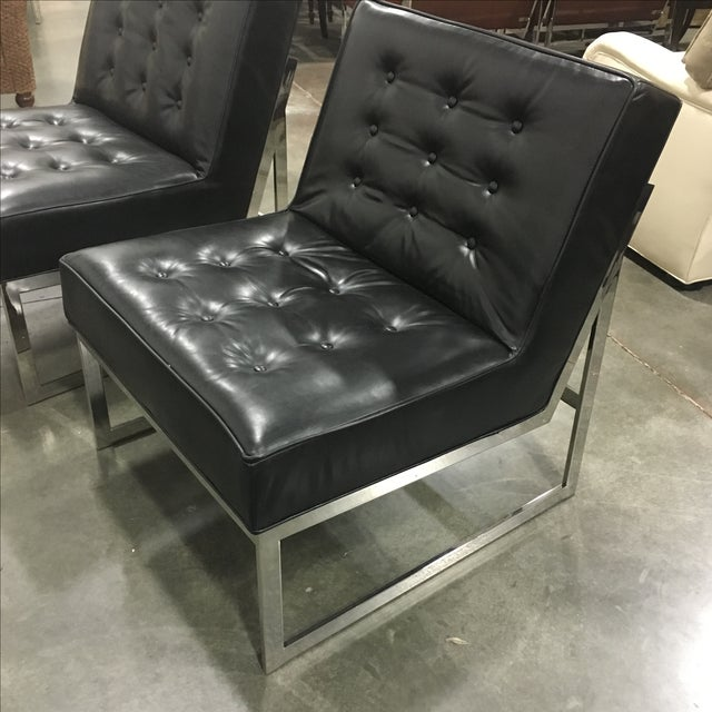 Black Leather & Chrome Chairs- A Pair - Image 6 of 8