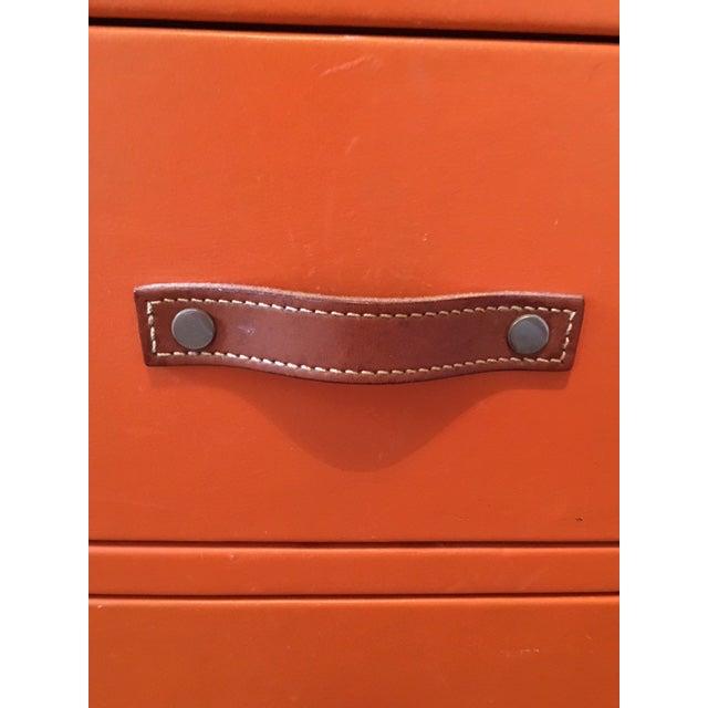 1970s 1970s Hollywood Regency Hermes Orange Leather Wrapped Dresser For Sale - Image 5 of 7