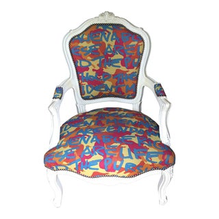 The Declaration of Independence Graffiti White Bergere Chair For Sale