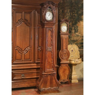 18th Century French Louis XIV Hand Carved Walnut Tall Case Clock with Rooster Preview
