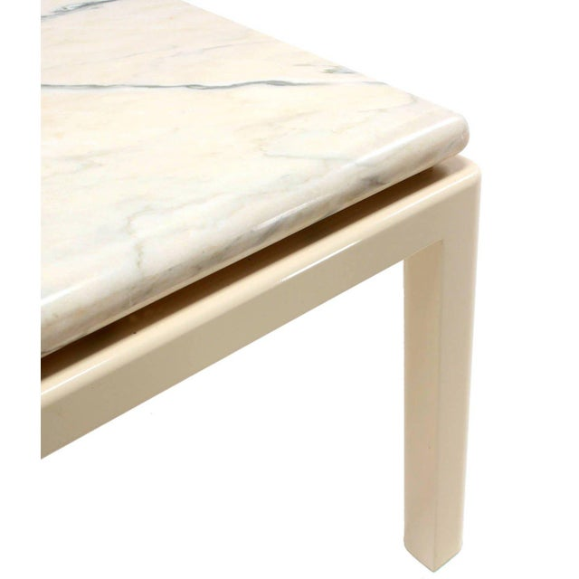 Metal 20th Century Modern Marble-Top and Enameled Metal Base Game/Dining Table For Sale - Image 7 of 11