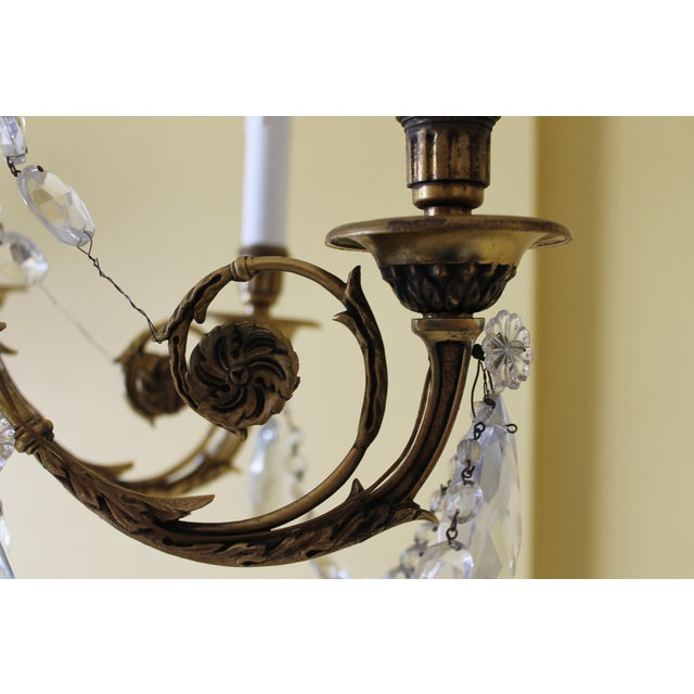 19th Century Maison Bagues Palm Motif Eight Light Crystal & Bronze Chandelier = Neoclassical Style For Sale - Image 9 of 13