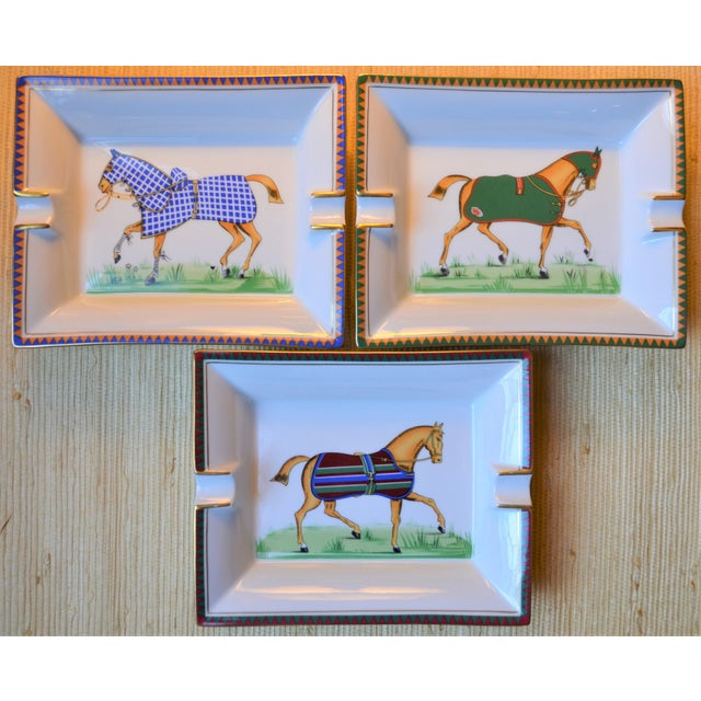 White 1970s Vintage Hermes Striped Equestrian Cigar Tray For Sale - Image 8 of 10
