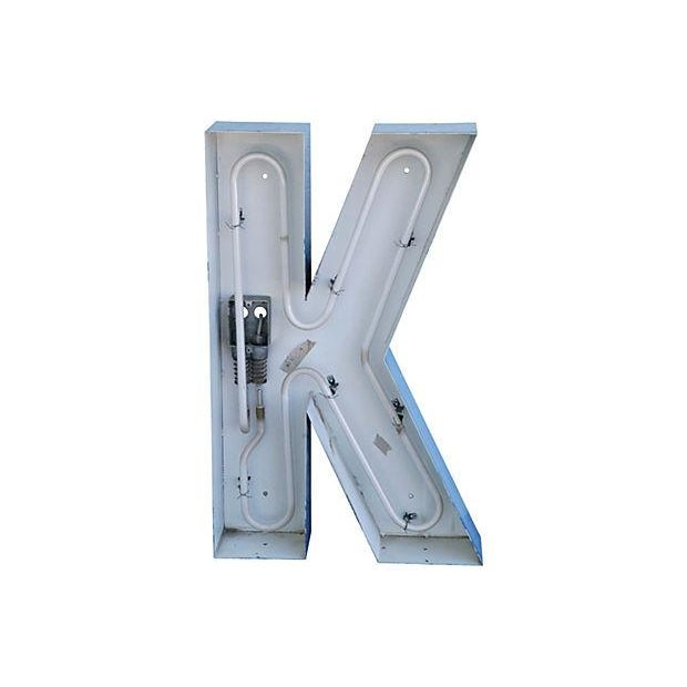 Lg. Industrial Blue & White Metal Marquee Letter K - Image 1 of 6