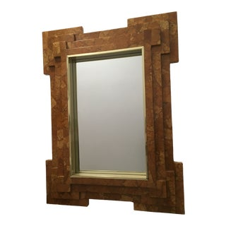 1960s Mid Century Modern Coconut Shell Frame Wall Mirror For Sale