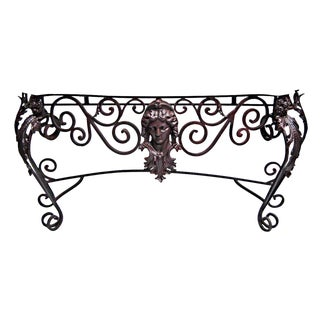 Antique Marble Top Figural Iron Console For Sale