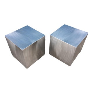 Industrial Block Shaped Steel Caldo Side Tables by Chiasso - a Pair For Sale
