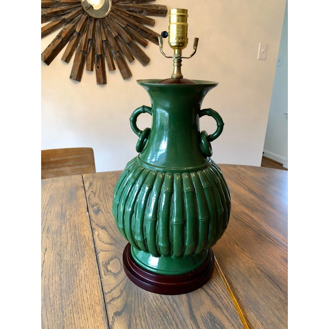 Green Faux Bamboo Lamp For Sale In Charlotte - Image 6 of 11