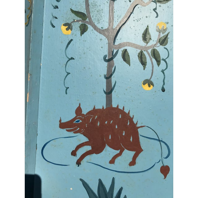 1960s Tall Hand Painted Indochine Wood Screen For Sale - Image 4 of 11