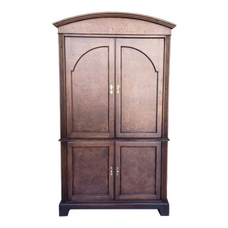 Hekman Furniture Burl Walnut Contemporary Entertainment Tv Armoire Cabinet For Sale