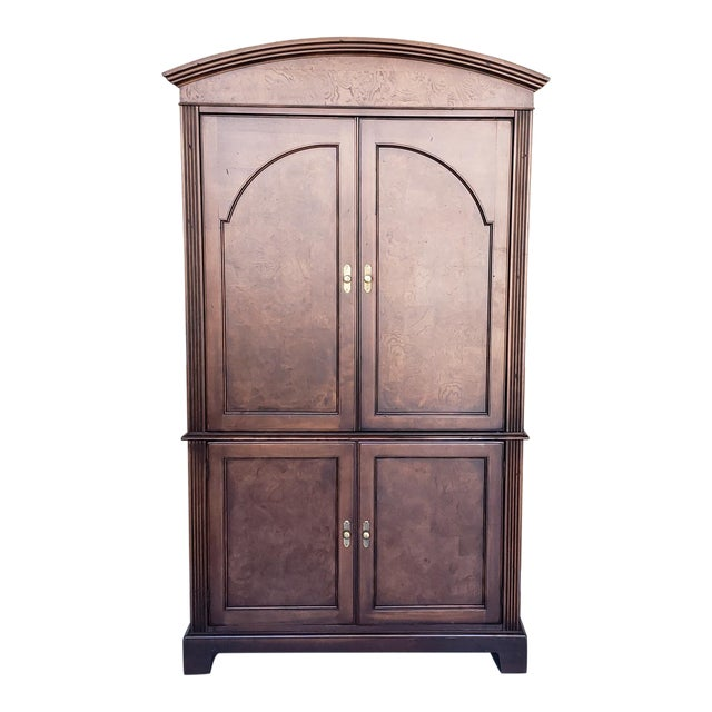 Hekman Furniture Burl Walnut Contemporary Entertainment Tv Armoire Cabinet For Sale