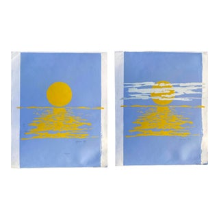 Sun Over Water Artist Signed Screen Prints - Set of 2 For Sale