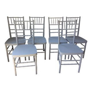 1960s Hollywood Regency Chavari Bamboo Dining Chairs - Set of 6 For Sale