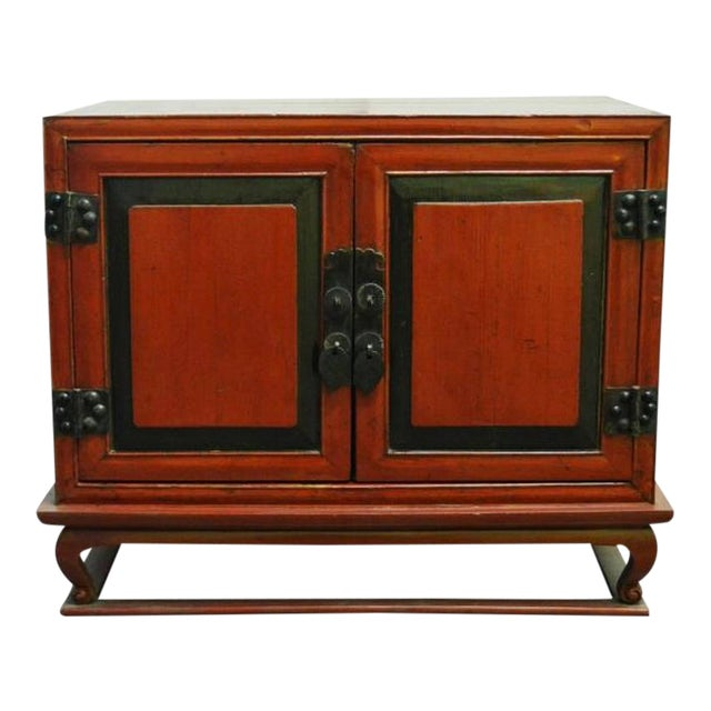 Antique Red Lacquer Bedside Cabinet with Hardware from Mid 19th Century China For Sale
