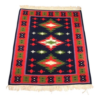 Beautiful Red Blue Green Navajo Style Rug For Sale
