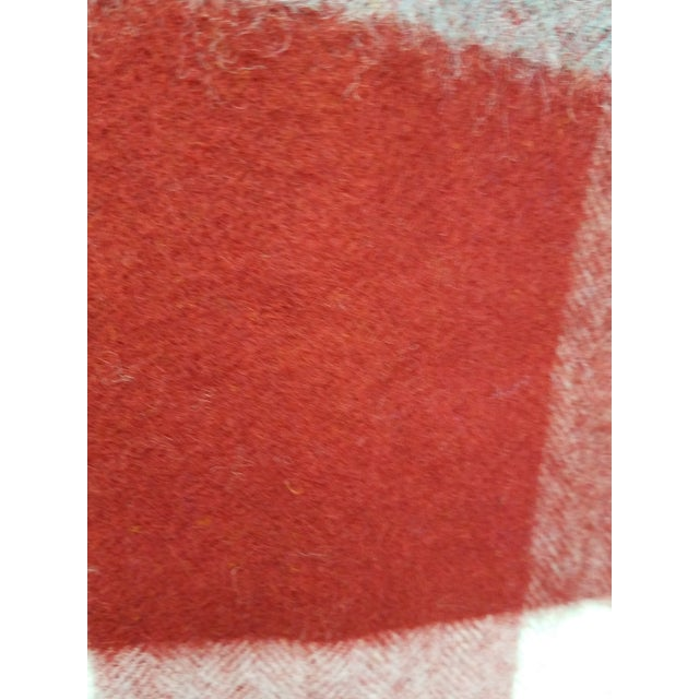 Wool Throw Red Blue White Square Stripes - Made in England For Sale - Image 10 of 12