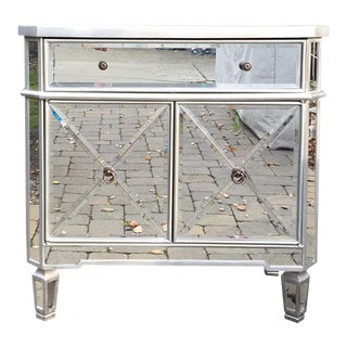 Regency Glam Mirrored Chest Dresser Nightstand For Sale