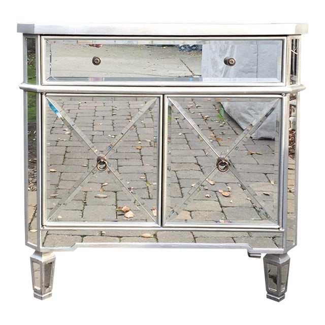 Regency Glam Mirrored Chest Dresser Nightstand For Sale