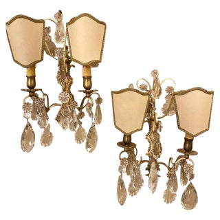 Two-Light Covered Mixed Crystal and Rock Crystal Bronze Wall Sconces - a Pair For Sale