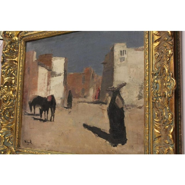 "20th Century Oil Painting ""A Street in Luxor"" by Huub Hierck 1917-1978"