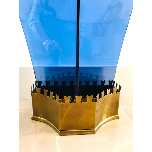 Italian Glass and Gilt Iron Umbrella Stand by Fontana Arte, 1950s For Sale - Image 9 of 13
