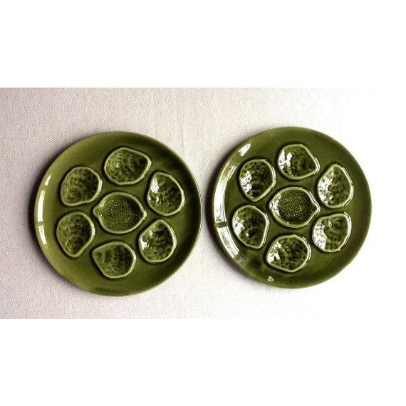 Vintage French Faience Pottery Oyster Plates - a Pair For Sale - Image 5 of 5